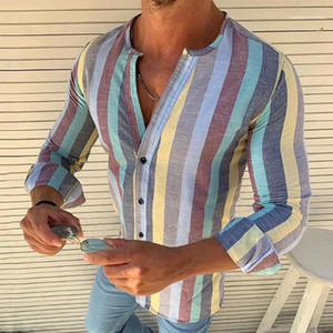 Mens Tops Spring Designer Mens Striped Printed Tees Mens Long Sleeve Casual Shirts V Neck Mixed Color