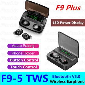 Кнопка F9-5 TWS / сенсорный стиль Bluetooth наушники наушников Стерео Спортивные наушники с зарядной коробкой Светодиодный дисплей универсальный для Android