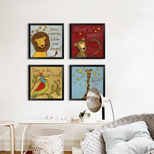 Watercolor kawaii animal big stupid lion lion giraffe monkey bird canvas painting children bedroom nordic style pictures home decoration