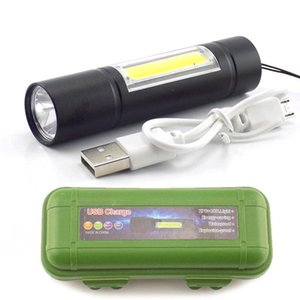 high powerful 2 LED COB Q5 Mini USB rechargeable Battery flash Torch Work light Torch Lamp for Hiking Camping fishing