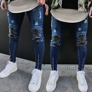 Mens strappato Slimfit Skinny jeans stretch denim Distress sfilacciati Biker Jeans Ragazzi