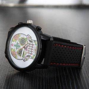 Fashion women men Unisex skeleton skull style dial Silicone strap quartz wrist watch