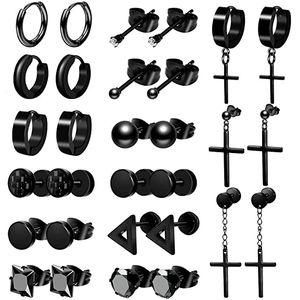 D1034 Black Earring Stud For Men 15 Pairs Stainless Steel Black Earring Sets Women Earring Piercing Jewelry