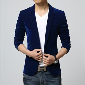 Men's Autumn Winter Velvet Wine Red Blue Black Fashion Leisure Suit Jacket Wedding Groom Singer Slim Fit Blazer Hombre Masculino