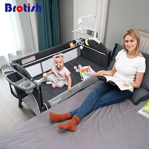 Brotish cuna empalme cama grande bb multifunción portátil plegable desmontable de cabecera bebé recién nacido LJ200818 cama cama cuna