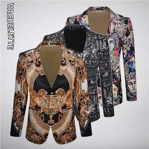 VAGUELETTE Элегантный шаблон Blazer для мужчин Stage платье костюм куртки пальто Роскошные печати Мужчины Пиджаки Slim Fit Свадебная одежда