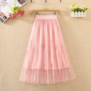 Zoki New 2020 Sequined Women Tulle Skirt Elegant Spring High Waist Pleated Long Skirt Korean Summer Mesh Party Faldas Mujer Moda