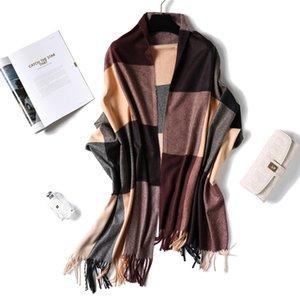 Мягкие зимы кашемира шарф для дам шерсти кисточкой плед шарфы Женщины Длинные шали Wraps Lattice палантины Осень Теплый T200818 Шарфы