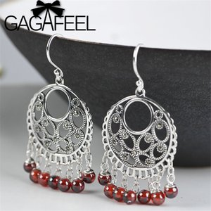 GAGAFEEL Vintage Etnica Bead Red nappa Orecchini per le donne argento 925 zircone ciondola gli orecchini rotondi Orecchini Perle