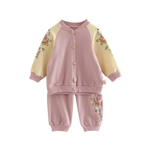 Children two piece cotton T-shirt Pants Set spring Embroidery suit new girls thin baby girl baby girl version