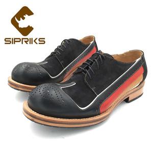 Sipriks رجل الخياطة مجلود أحذية فريدة من نوعها تصميم قمة الجناح اللباس أوكسفورد جولة جودة عالية للرجال تو سهرة الرسمي