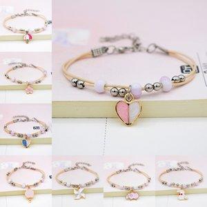 Ceramic bracelet pendant small fresh cartoon animals student umbrella love jewelry gift drip new Woven Bracelet