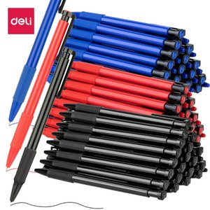 Deli 1шт 0.7mm черный / синий / красный Нажмите Шариковая Oil Pen Пластиковые Гель нейтральный Многофункциональный Пресс шариковая ручка школа Канцелярские