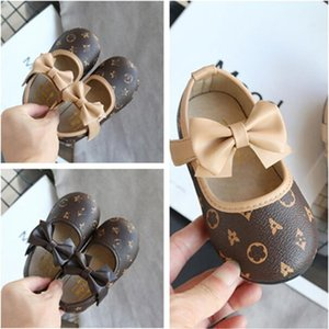High Quality PU Soft Bottom Baby Shoes 2021 spring autumn New Baby Girls Shoes 2 Colors Fashion Butterfly-knot First Walkers