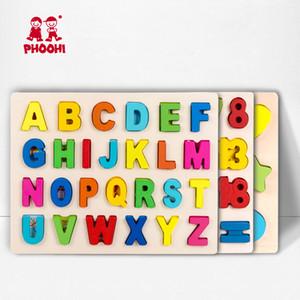 Kinder Holz Alphabet 3D Puzzle Kinder Großbuchstabe Digitale Geometrische pädagogisches Spielzeug für Kleinkind PHOOHI