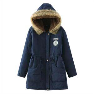Warm Winter Women Fur Collar Parkas Slim Zipper Parkas Wool Hat Belt Hoodie Thick Cotton padded Outwear Long Female Snow Coat