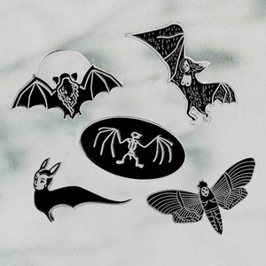 Halloween Gothic style Black Bat Skeleton Enamel pins Badges Lapel pin Jackets Backpack Hats Accessories Punk pins collections