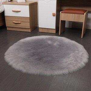 Lana artificiale spessa rotonda tappeto del salotto camera da letto Bedside solido di colore morbido Fluff Tappetino Tavolino Divano per la casa Tappeti Resident 6hZO #