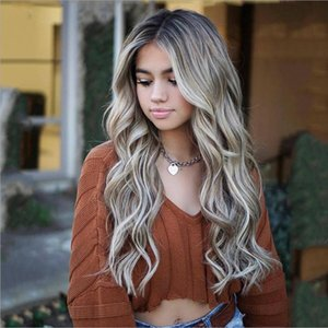 Ombre Color Long Wavy Highlight Full Face Human Hair Wigs with Baby Hair 150Density Pre Plucked 360 Lace Frontal Wigs Bleached Knot Human