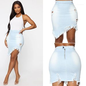 Woman Summer Womens Fashion Denim Skirts Solid Color Hole Slim Ladies Clothes Tassel Skrits for