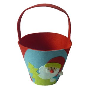 Christmas Bucket Gift Bag Felt Material Soft and Durable Christmas Theme Party Candy Bag Decoration Add Festival Atmosphere