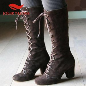 JOUIR TALONS Classics Round Toe Thick Square Heesl Autumn Boots Fashion Cross-tied Mid-calf Flock women shoes