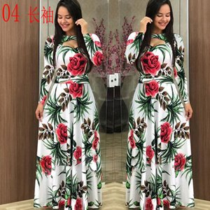 Size Plus 5xl Elegant Spring Autumn Women Dress Casual Bohmia Flower Print Maxi Dresses Fashion Hollow Out Tunic Vestidos Dress
