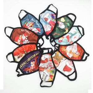 10 Patrón nuevo diseñador diseño de la Navidad de la máscara de la mascarilla de algodón Feliz Navidad diseño de la cara de la boca cubierta de la máscara reutilizable lavable