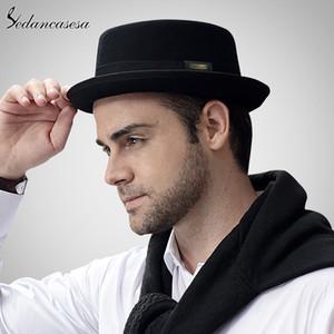Sedancasesa 2020 Мужчины Fedora Hat Мода Чистая Австралия Шерсть Mens Hat с Свиной Pie Hat Классич церкви войлока