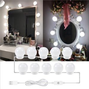 LED USB Makyaj Ayna Ampul Hollywood'un Vanity Işıklar Kademesiz Dim Duvar Lambaları 6 10 14Bulbs Kiti Giyinme Tablo Banyo Tuvalet için