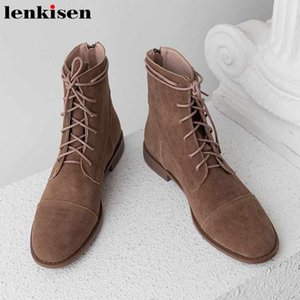 Boots Lenkisen Winter Basic Breathable Sheep Suede Shoes Round Toe Low Heels Keep Warm Solid Daily Wear Lace Up Women Ankle L31