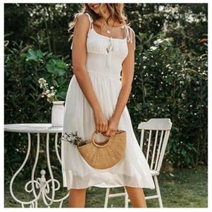 ملابس الشاطئ Backlesss Ruched وعطلة رسمية إمرأة Dayly ارتداء الأبيض الأنيق ردائه الشاطئ اللباس المرأة بلا أكمام الشيفون الصيف