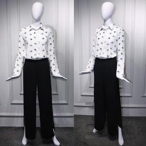 Printemps et été blanc étoiles même étoile à cinq branches chemise à manches longues costume fendu Wide- Pantalon noir large jambe chemise pantalon large jambe pour les femmes