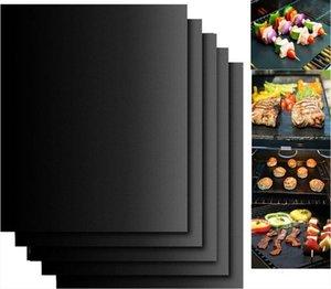 Antiaderente BBQ Grill Mat Teflon Cozinhar Folha grelhar piquenique preto assado reutilizável Não Vara BBQ Grill Mat de Resistência ao Calor Cozinha Ferramenta DWE772