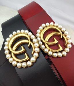 2020 de la moda de la correa ocasional de la mujer mayor perla GG de metal hebilla de cinturón bicolor negro y rojo de cuero Ancho 7 cm de longitud 80cm-100cm de alta calidad
