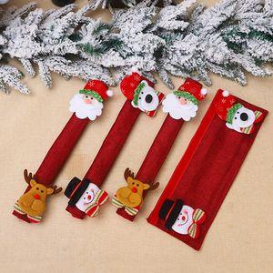 Рождественский стол Ручка крышки Санта снеговика двери перчатки Холодильник Духовка Защитная крышка Xmas кухни Новогодние украшения T500128