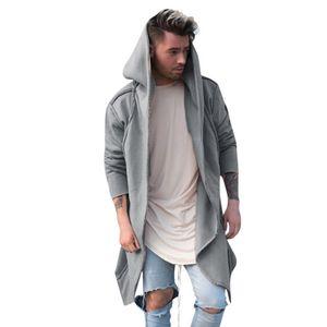 2020 Новая осень зима Мужчины моды Long Hooded Coat Guys мальчиков вскользь с длинным рукавом с капюшоном Outwear Мужской Solid Color Coat Hot Sale