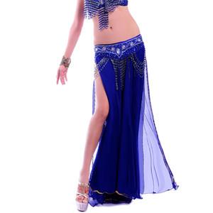 Новый Большой Полный танец живота юбка Профессиональный Expansion Bellydance платье Performance костюм 2 Щели Топ Юбки