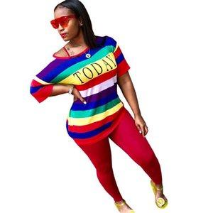 Womens arcobaleno a righe Lettera Tute estate in due pezzi Sport una spalla magliette con la matita pantaloni Imposta Loose Women Outfits