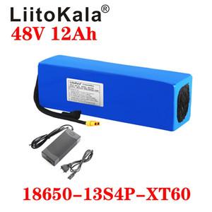 LiitoKala 48v 12Ah lityum pil 48v 500W 750W 1000W motor çal azade için 54.6V 2A şarj cihazı ile 12Ah elektrikli bisiklet pil