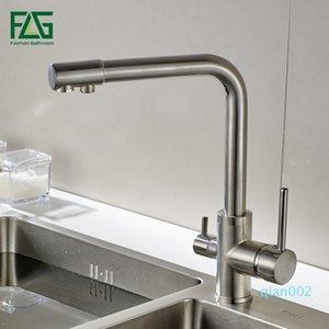 Filtro FLG Água torneira da cozinha níquel escovado torneira rotação 360 com Purificação de Água Características torneiras para beber Kitchen Mixer T200805