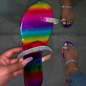 2020 candy-colored slippers new Fashion women flip flop fashion wild beach shoe diamond flat bottom outdoor wild sandals