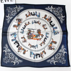 POBING 100% Pure Silk Scarf For Ladies Horse Carriage Print Square Scarves Small Head Handkerchief Wholesale Hijab Wraps 53X53CM