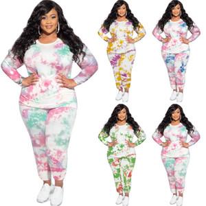 Женская Плюс Размер Tracksuit Осень Tie Dye Повседневный Два Бюстье O шеи с длинным рукавом рубашки и тонкий брюки для женщин