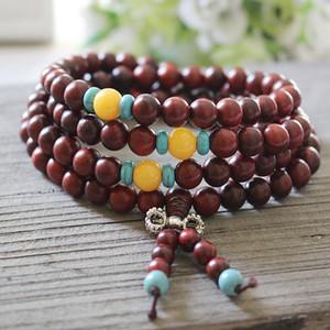 Authentique Laos rouge et les branches aigres comme lobulaire Rosewood 108 Bouddha Perles de dix multi-cercle Bracelet de yuans magasin