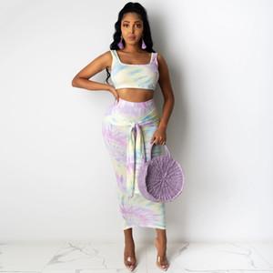 Womens Due sexy vestiti di vestito pezzo di moda Tintura canotta Lace-up Borsa del pannello esterno dell'anca vestito a due pezzi della maglia + Gonna con il 2020 per il commercio all'ingrosso