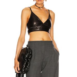 8.31 Lamb Leather Sexy Spaghetti Strap Camisole Women 2020 New Fashion V-neck Tank Top Ladies High end Camis underwear