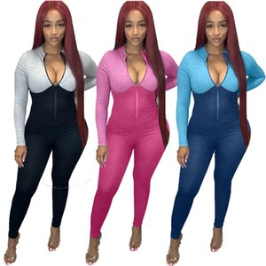Women sexy Jumpsuits sports rompers casual panelled onesie zipper bodysuits fall winter clothing slim one piece pants plus size 3954