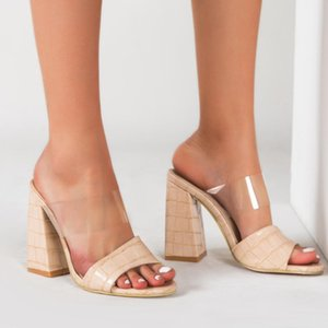 Summer Sandals Peep-toe Shoes Comfortable Square Heel Slippers Slip-on Women's Crocodile Skin Style Mixed Colors Slides Rubber