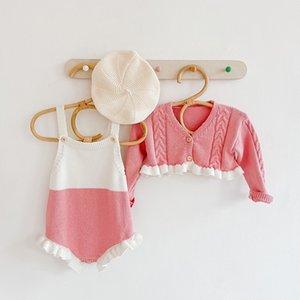Mädchen Strickmode Ins New Infant Fall Princess Kleidung stellt Frühlings-Kleinkind-Spitze-Strickjacke Straps Body Climbing Anzug S453